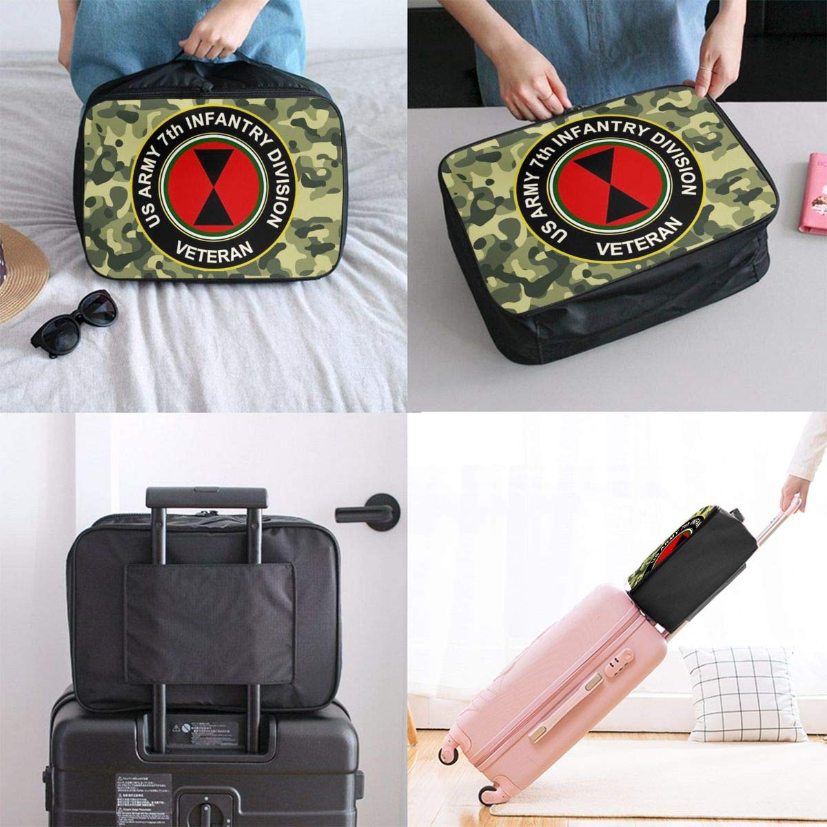 Army 7th Infantry Division Travel Bag Men Women 3D Print Pattern Gift Portable Waterproof Oxford Cloth Bags