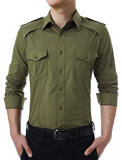 Hombre Camisas Manga Larga Militar Estilo Color Sólido Camiseta De Acampada Y Senderismo – Camisa para hombre (Verde del ejército, L): Amazon.es: Hogar