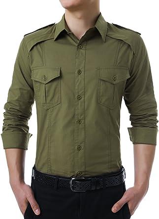 Allegra K Camisa De Mangas Largas para Hombres Estilo Militar con Botones - Verde Militar/S (US 34), S (EU 44): Amazon.es: Ropa y accesorios