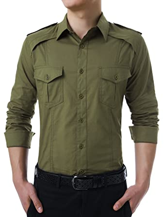 76ebb41d1ac4 uxcell Men Button Down Military Style Button-tab Epaulets Long Sleeves Shirt  (US 34