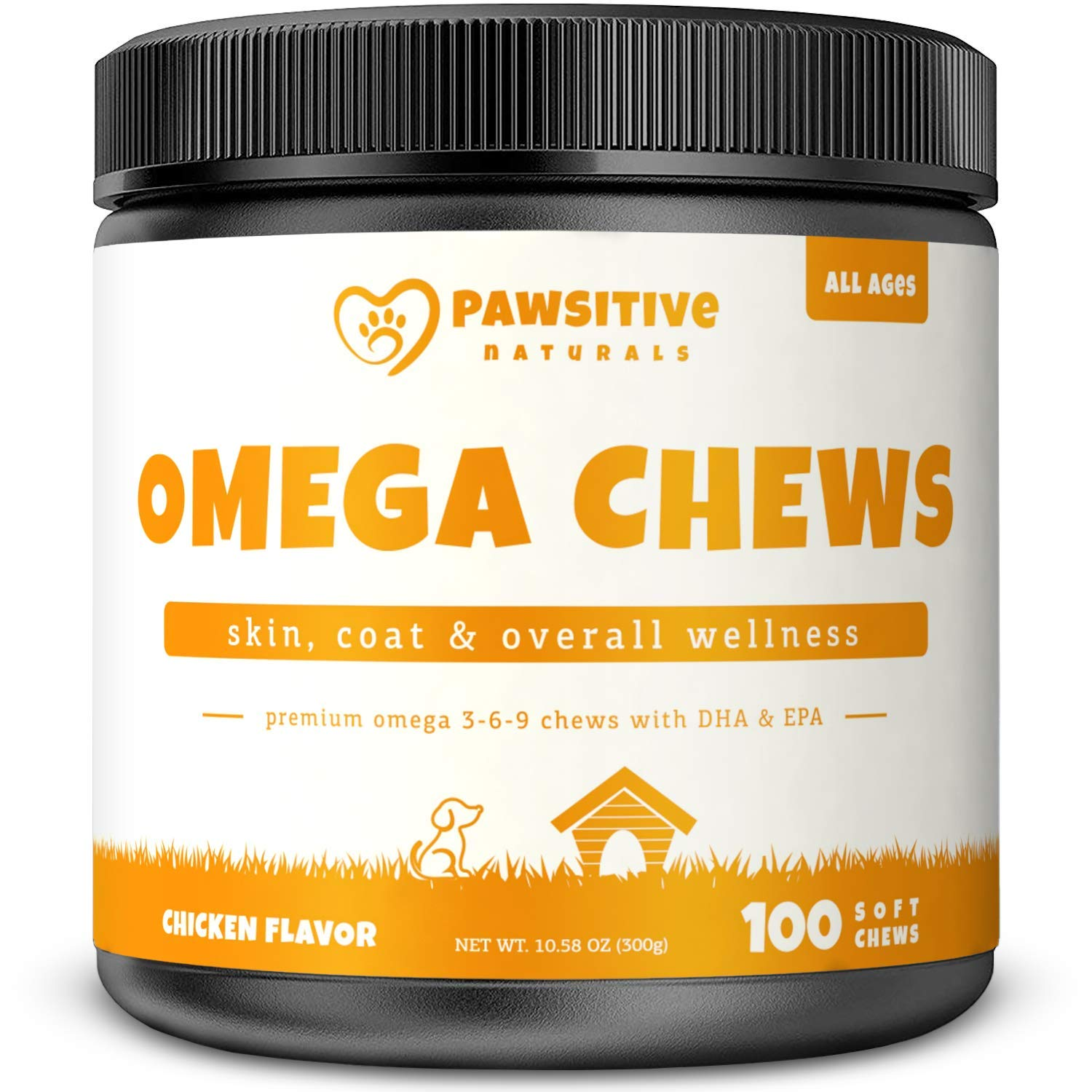 Omega 3 Fish Oil for Dogs - 100 Soft Chew Bites with Omega 3 6 9 & EPA + DHA Fatty Acids for Shiny Coats & Itch Free Skin - Natural Dog Hip & Joint Support - Heart & Brain Health by Pawsitive Naturals