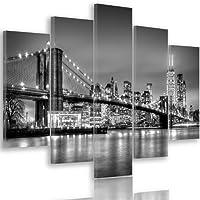 Feeby Quadro Multipannello NEW YORK Su Tela 5 Pezzi Tipo A, Dimensione: 200x100 cm, PONTE DI BROOKLYN ARCHITETTURA BIANCO E NERO