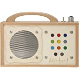 MP3 player for children: hörbert - made of wood and stainless steel. Portable with built-in speaker, volume limiter and SD card for 17h content on nine playlists. No headphones and no display.