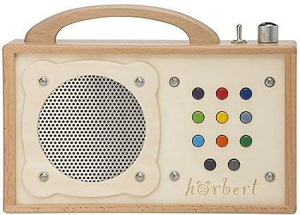 Reproductor MP3 para niños: hörbert - De madera. Portátil con altavoz incorporado, limitador