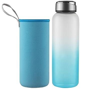 DEARRAY Botella de Agua de Cristal de Borosilicato ...