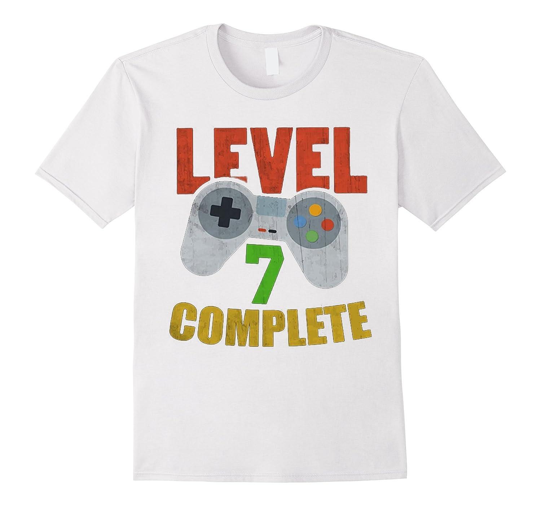 Level 7 Complete Video Gamer Geek Boys 7th Birthday Shirt TD