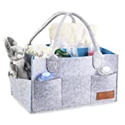 Baby Diaper Caddy Organizer Changing Table Bag Nursery Storage Basket for Newborn, Baby Shower Gift,Blue