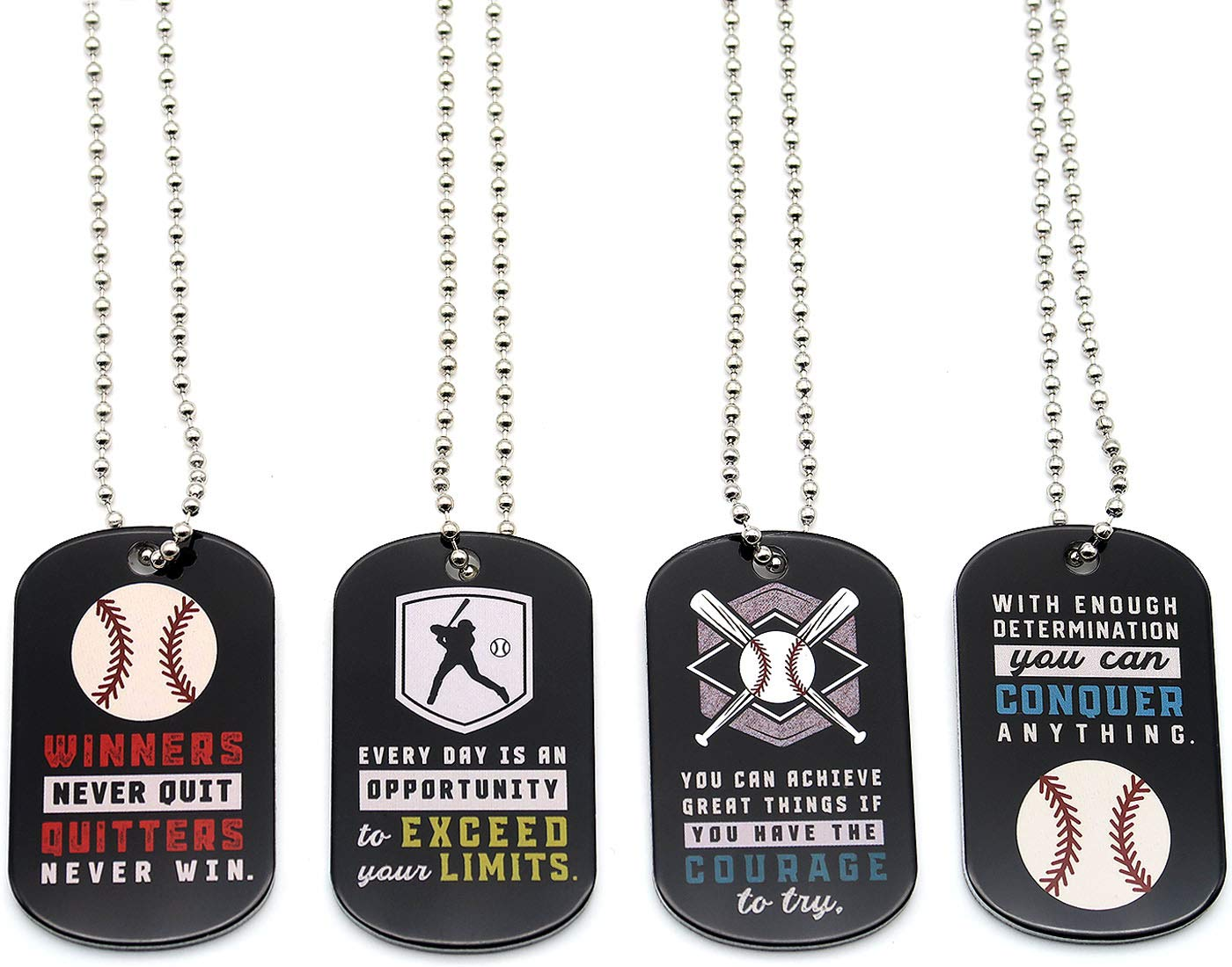 (12-Pack) Baseball Motivational Dog Tag Necklaces - Wholesale Bulk Pack of 1 Dozen Necklaces - Party Favors Sports Gifts Uniform Supplies for Baseball Players Coaches Fans Team Members by Inkstone (Image #1)
