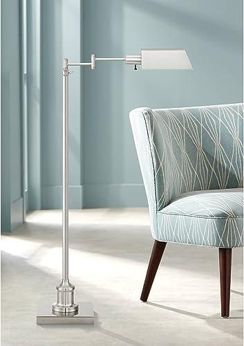 Jenson Modern Pharmacy Floor Lamp Adjustable Swing Arm Brushed Nickel Metal