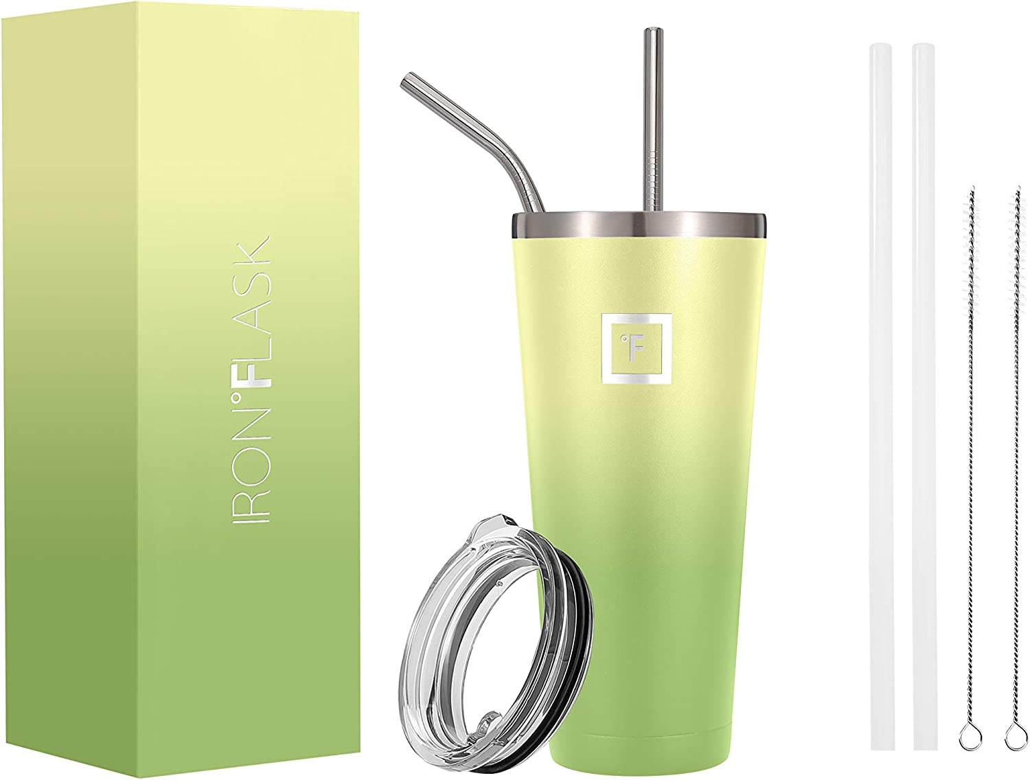 IRON °FLASK Classic Tumbler - 32 Oz, Vacuum Insulated Stainless Steel, Hot Cold, Modern Double Walled, Simple Thermo Travel Mug, Hydro Water Metal Canteen (Lime)