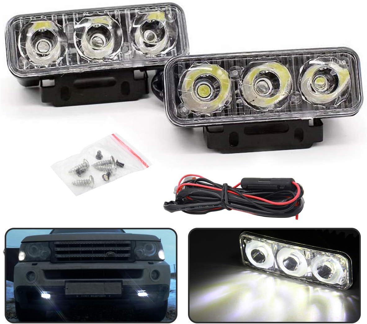 2PCS 9 LED Car Round Fog Light Daytime Running Lamp DRL Driving Bulb White Tool