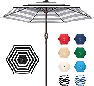 Funsite 7.5ft Patio Umbrella, UV Protect Market Table Umbrella with Heavy Duty Pole, Ventilate Design Outdoor Umbrella with Push Botton Tilt & Crank Ideal for Garden, Lawn, Deck, Yard&Pool, Black Stripe
