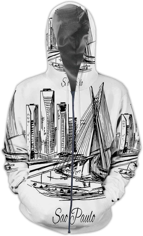 Illustration S?o Paulo,Men//Womens Warm Outerwear Jackets and Hoodies S?o State S Hand Drawn Brazil Sao Paulo Bridge
