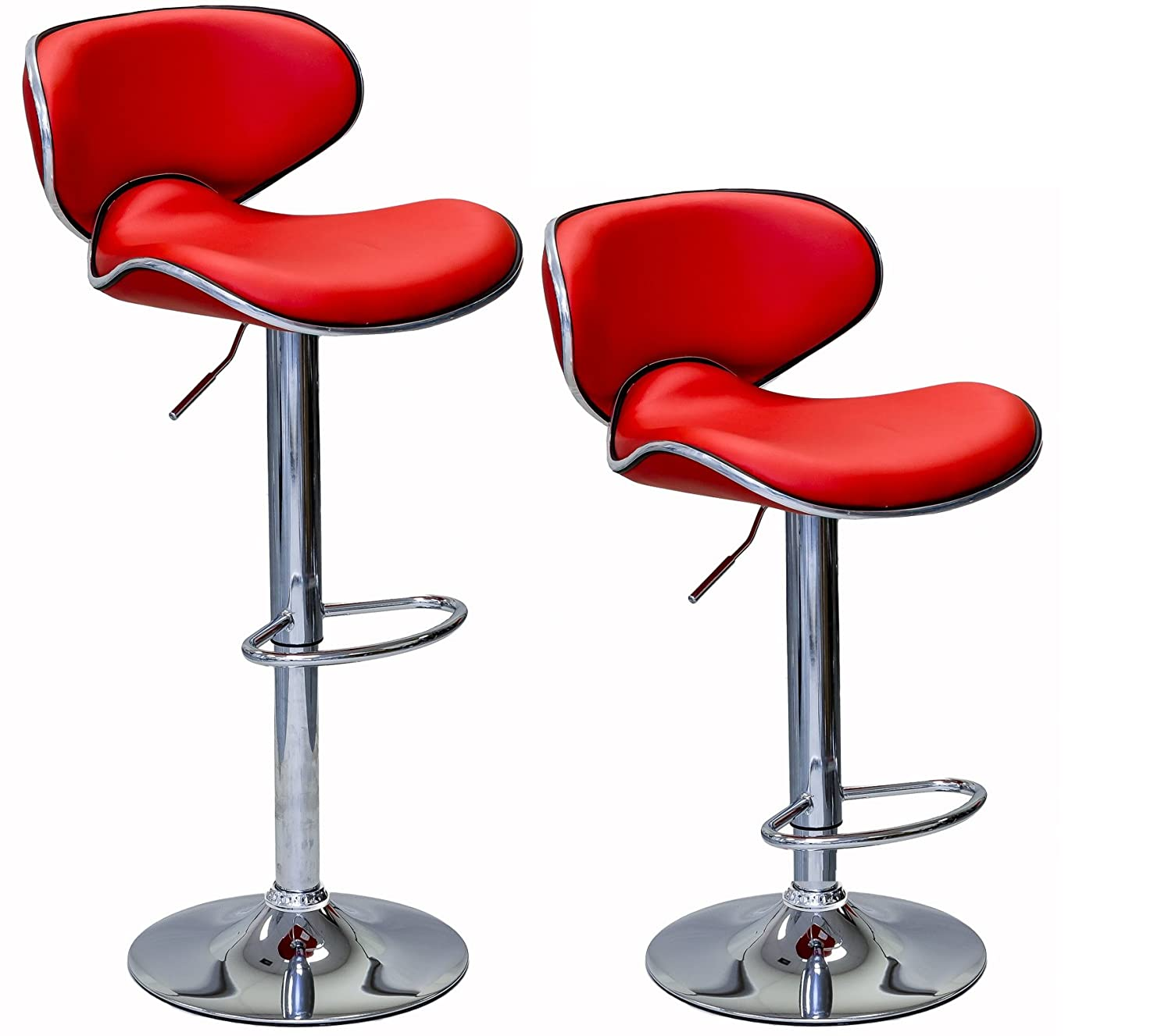 ViscoLogic Series Oasis Height Adjustable Leatherette Saddle Style Seat and High Back Rest 360 Swivel 24 to 33 inch Bar Stool with Chrome Pole & Base with Hard Floor Protection Plastic (Set of 2 Stools) (Black)