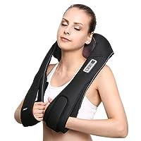 Naipo Nacken Massagegeräte wiederaufladbare Massagegerät freihändige Massagekissen für Nacken Schulter Rücken mit Lang-Gürtel Shiatsu Kneten Wärmefunktion verstellbare Intensität für Büro Auto Zuhause