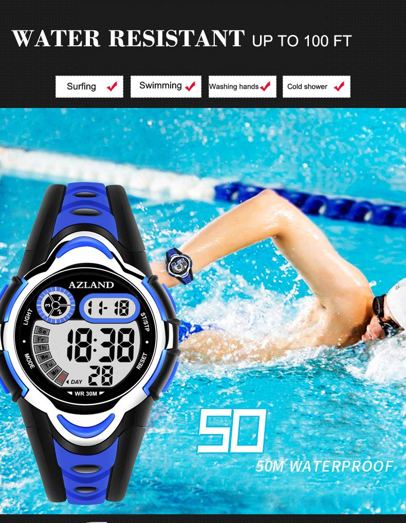 AZLAND Multiple Alarms Waterproof Kids Watches Boys Girls Digital Sports Teenagers Wristwatch (3 Alarms, for Age 4-12, Blue) by AZLAND (Image #2)