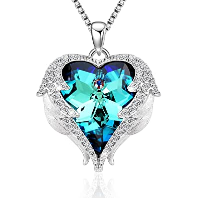 "Denvosi Heart Necklaces for Women ""Guardian Angels"" Made with Swarovski  Crystals Pendant Necklaces for 084f49fa9c86"