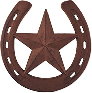 Sunset Vista Designs Horsing Around Cast Iron Horse Shoe with Star Stepping Stone, 10-Inch Diameter