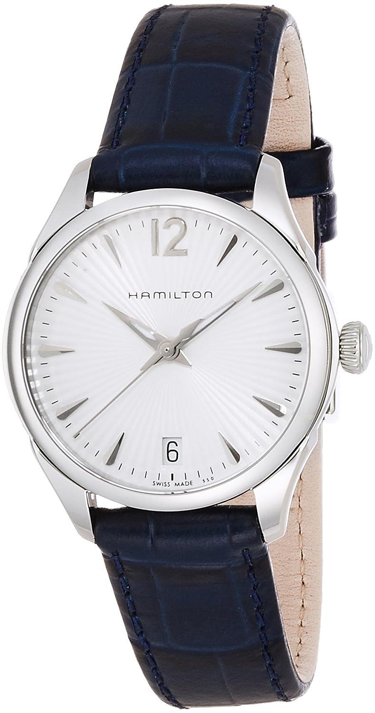 Amazon.com: Hamilton Jazzmaster White Dial SS Leather Quartz Ladies Watch H42211655: Watches
