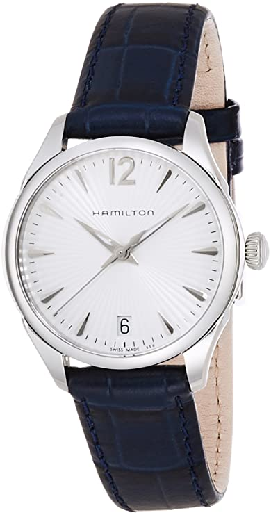 Amazon.com: Hamilton Jazzmaster White Dial SS Leather Quartz Ladies Watch H42211655: Watches