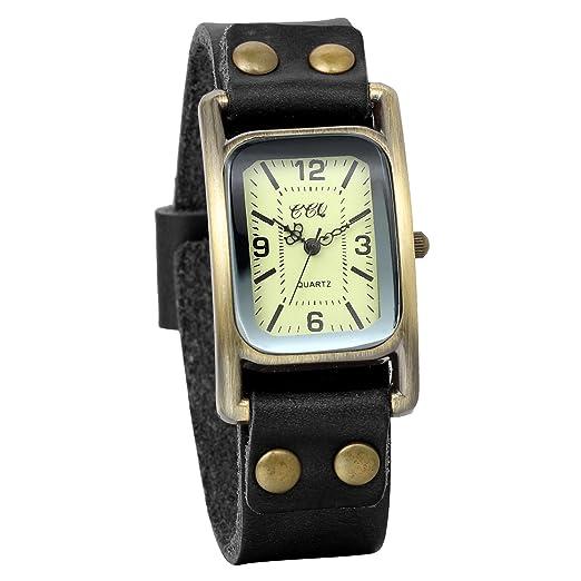 JewelryWe Clásico Relojes Hombre Mujer, Correa De Cuero Negro, Diseño Vintage Rectangular, Reloj Vintage Retro Unisex, Regalo De Amistad: Amazon.es: Relojes