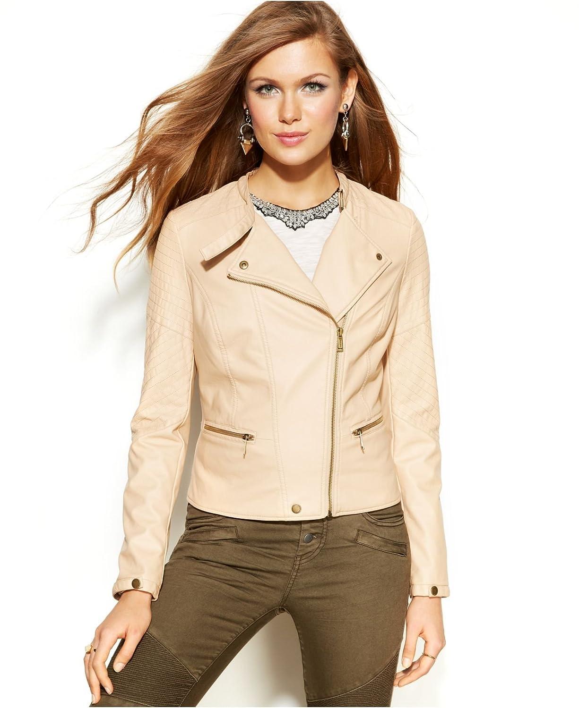 0e2c280804 Amazon.com: Jou Jou Womens Faux-Leather Moto Jacket, Nude, X-Small: Clothing