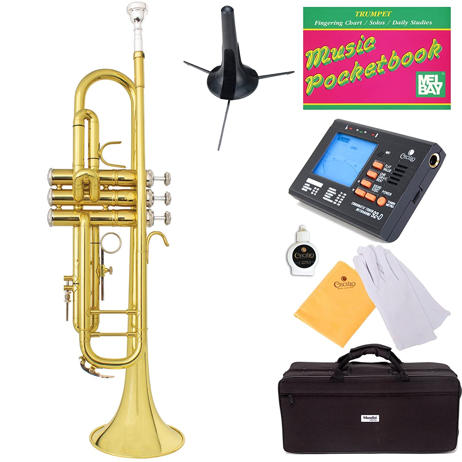 Mendini Double-Braced B-Flat Trumpet with Monel Valves, Yellow Brass + Tuner, Case, Stand, Pocketbook - MTT-30L+SD+PB+92D Cecilio Musical Instruments