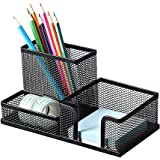 Deli Mesh Desk Organizer Office Supplies Caddy with Pencil Holder and Storage Baskets for Desktop Accessories, 3 Compartments
