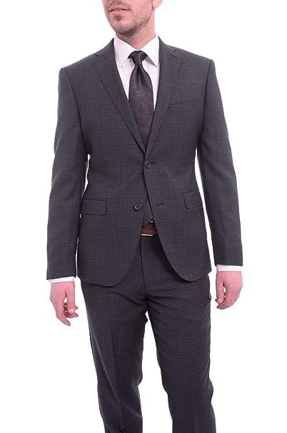 Amazon.com: Zanetti Slim Fit - Traje de lana con dos botones ...