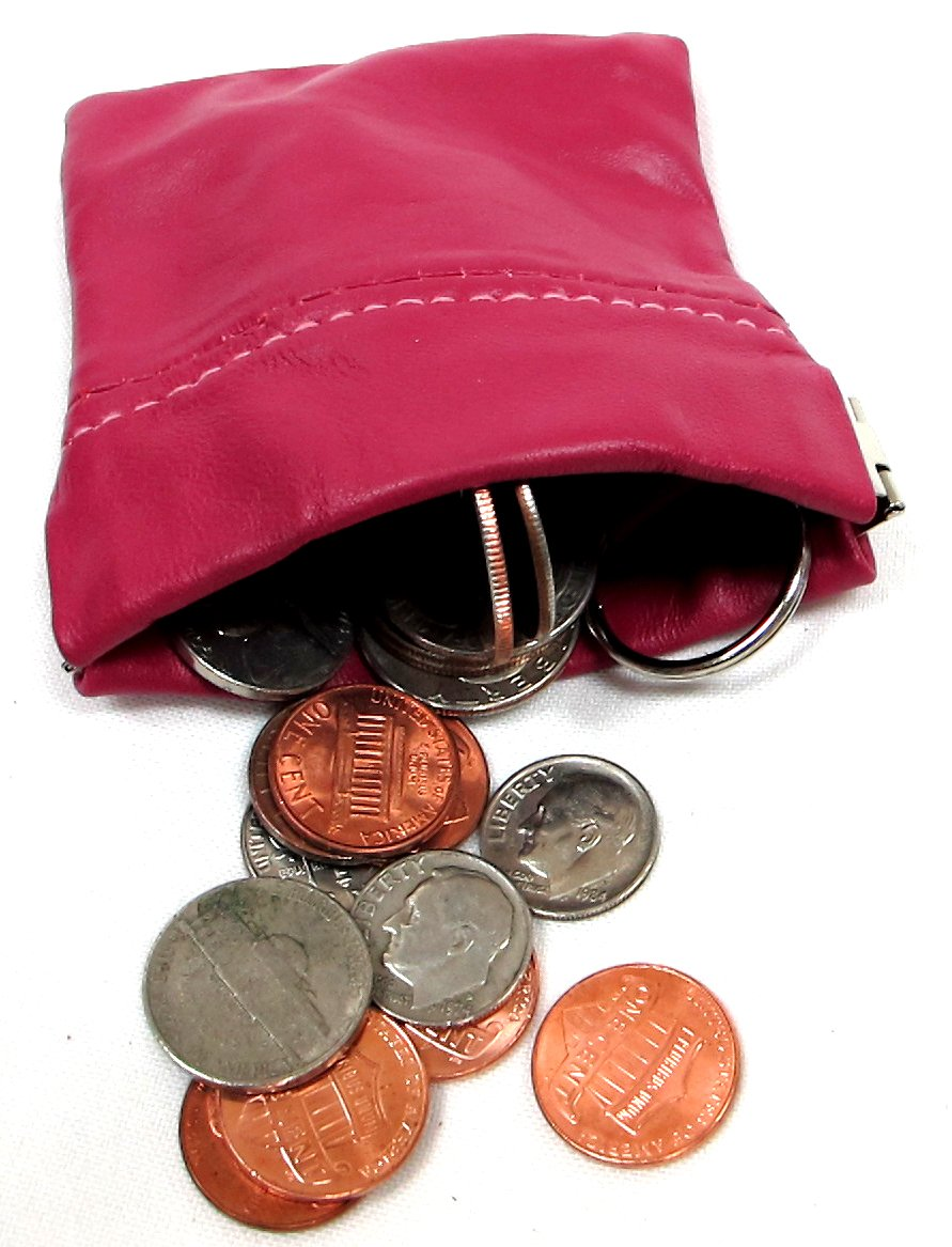 Soft Leather Squeeze Open Coin Pouch w// Key Ring 4pc lot for $8.99-2//Black 2//Red