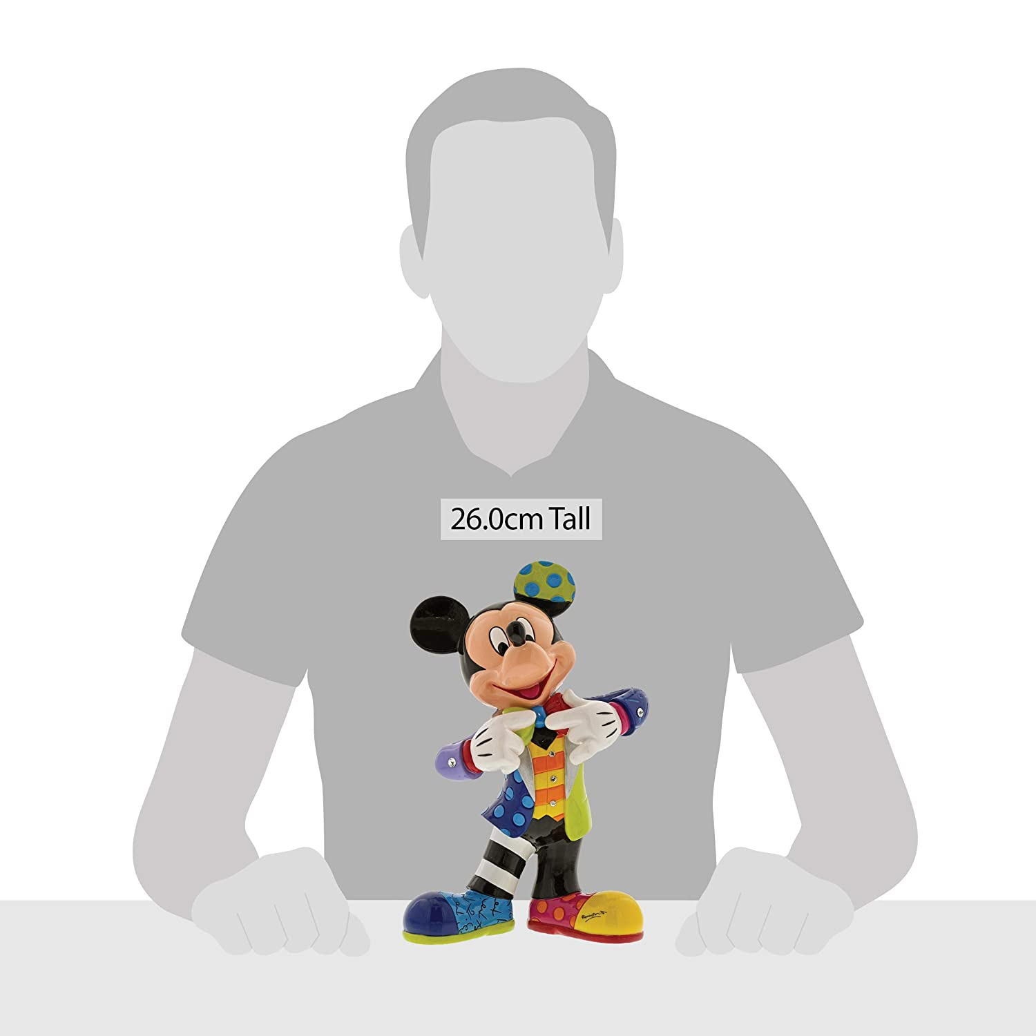 Enesco Disney by Britto Mickey Mouse with Bling 90th Celebration, 10.5 Stone Resin Figurine, Multicolor