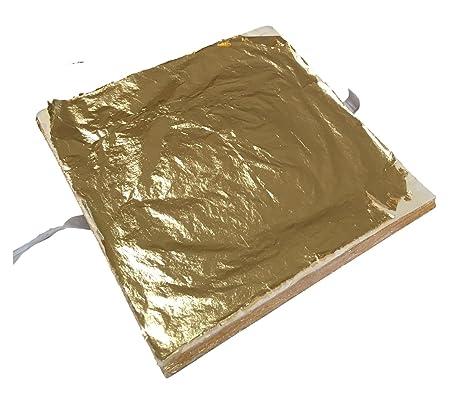 Meyerle24 Goldprodukte 100x Blattgold 14x14cm Premium Blatt Metall Gold Hochglänzend Zum Vergolden Basteln Verschönern Auf Wände Gegenstände