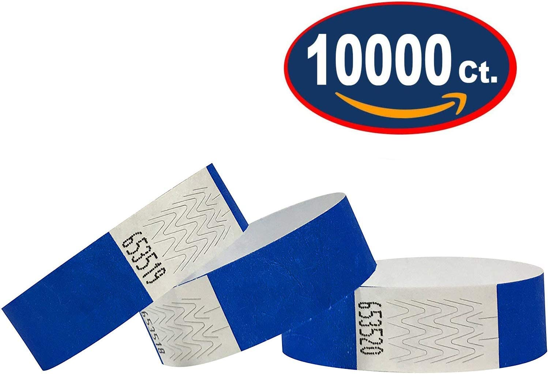 10000 Pack 3//4 Tyvek Wristbands for Events Tyvek Wristbands Black