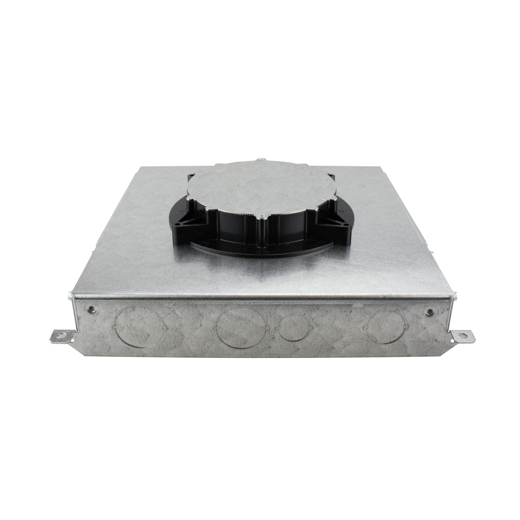 Wiremold RFB4E Steel Multi-Service Above-Grade Four-Compartment Combination Floor Box 13-1/8 Inch x 13-1/8 Inch x 4-1/16 Inch 75 Cubic-Inch