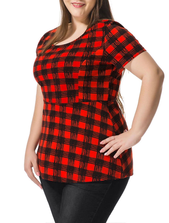 Alya Women Plus Size Short Sleeves Checked Peplum Top