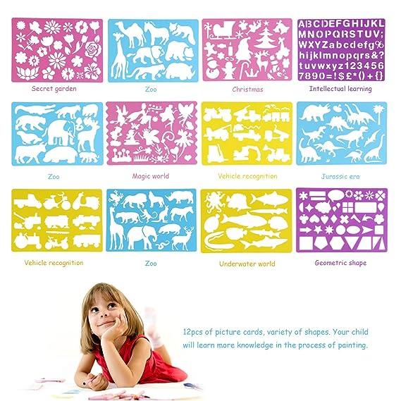 OULII dibujo plantillas con diseños surtidos creativos arte pintura plantillas conjunto de herramienta educativa para niños aprender viaje regalo: ...