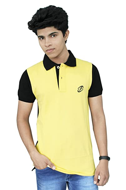 5259ecc1f48e8c JigarZee Yellow Polo T-Shirt for Men | Solid T-Shirt | Men's Polo | Half  Sleeves | Semi-Formal Look | Neck & Sleeves Contrast Color | Plain T-Shirt  | Plain ...