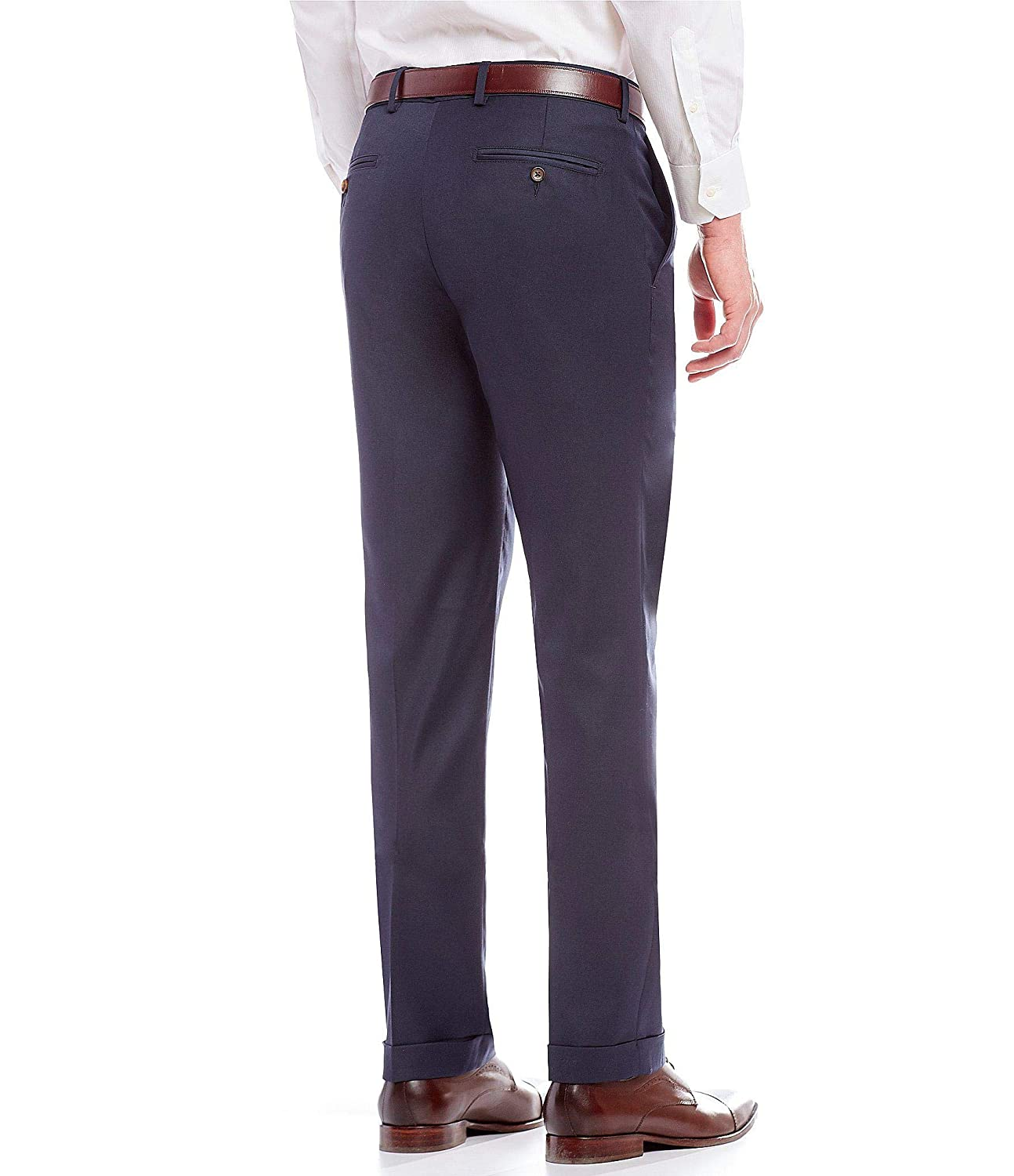 Cremieux Mens Milan Classic Fit Single Pleated Pants S85PX402 Navy Heather