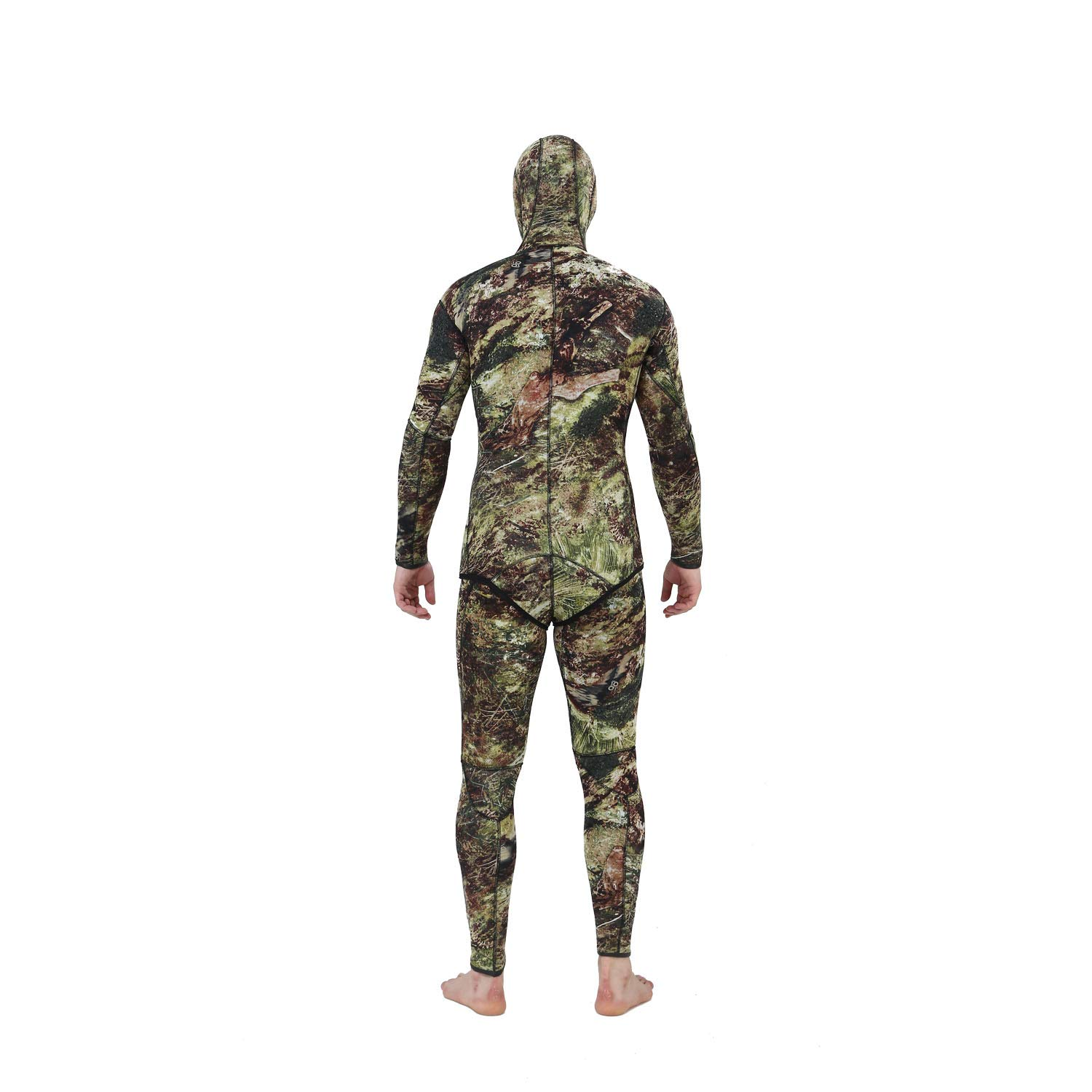 Flexel Camo Spearfishing Wetsuits Men Premium Camouflage Neoprene 2-Pieces Hoodie Freediving Fullsuit for Scuba Diving Snorkeling Swimming (7mm Grass camo, Large) by Flexel (Image #4)
