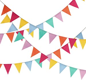 Shappy Multicolor Pennant Banner 42 Pieces Triangle Flag Bunting for Party Hanging Decoration