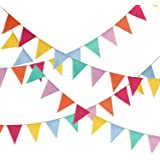 Hestya 32.8 Feet Pennant Banner 42 Pieces Triangle Flag Bunting for Party Hanging Decoration