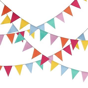 Hestya Banderas Banderines de Multicolor 42 Piezas de Banderines Triángulo para Decoración Colgante de Fiesta