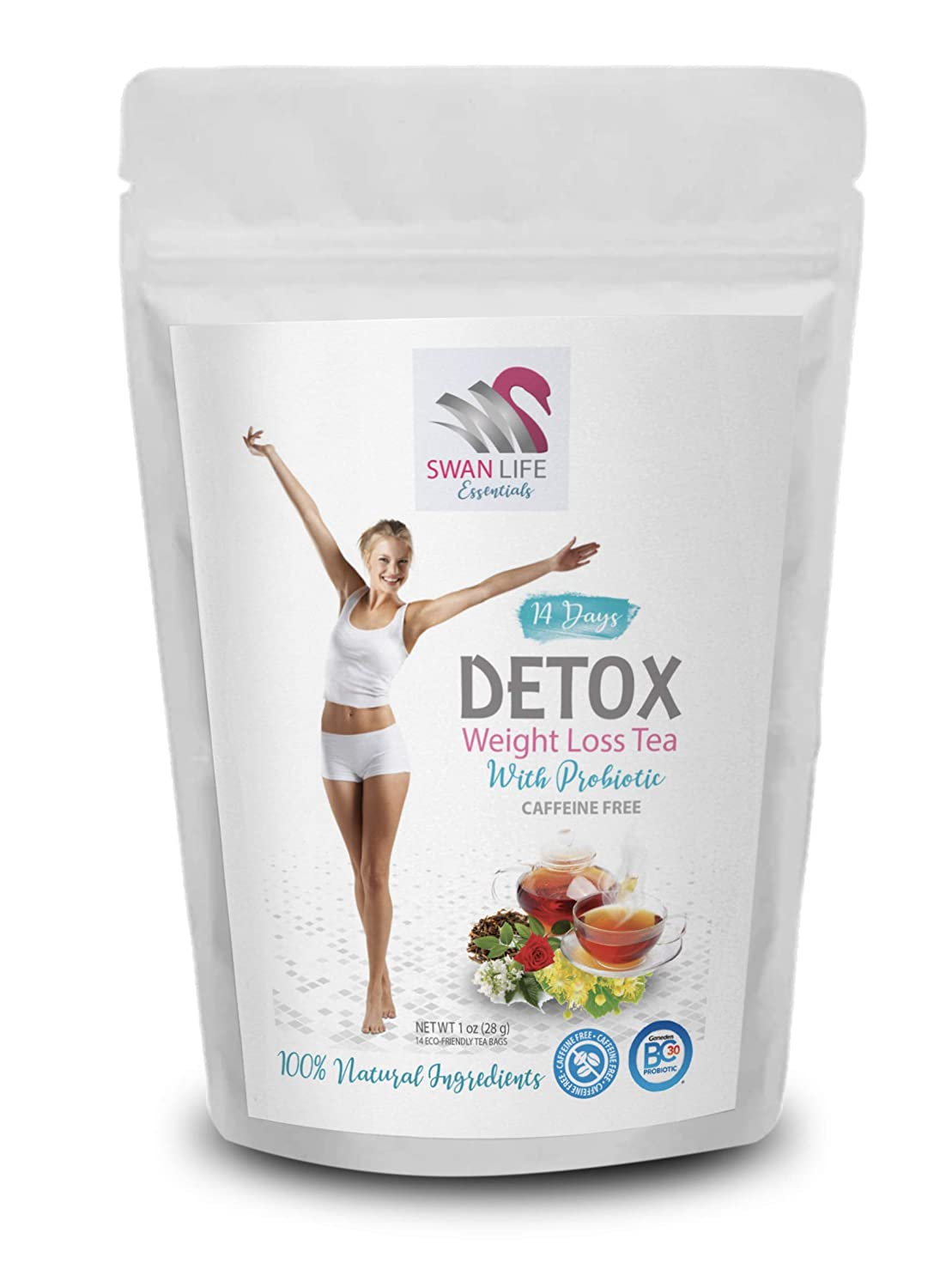 probiotic tea bags – caffeine free – weight loss tea for women belly fat - appetite control - 14 Days DETOX WITH PROBIOTIC herbal tea - by SWAN LIFE ESSENTIALS