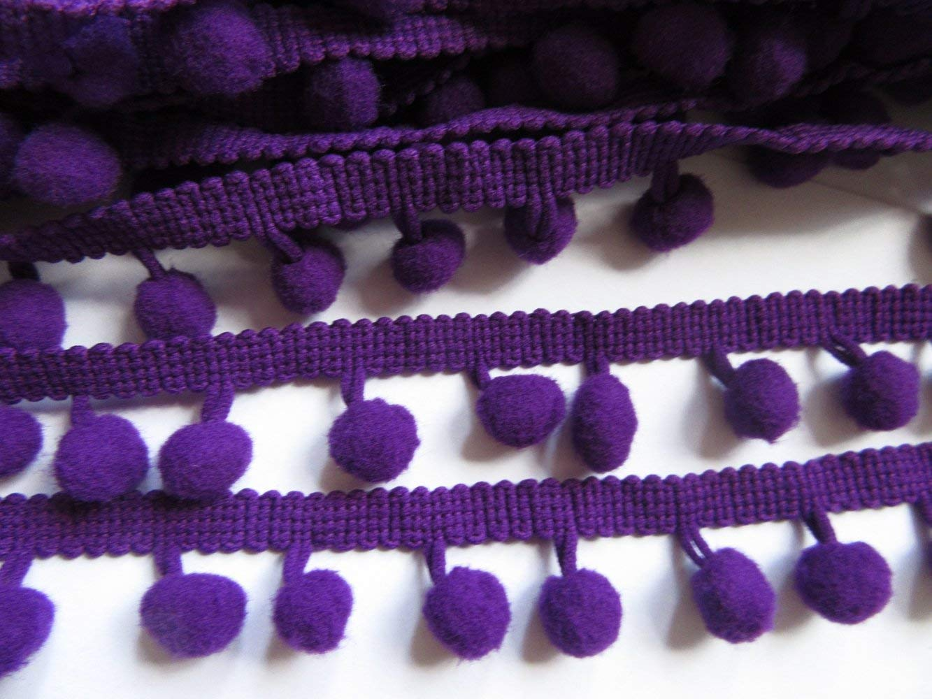 Teemico 20 Yards Mini Pom Pom Trim Ball Fringe Ribbon Sew on Pom Pom Fringe Tassel Lace for DIY Sewing Accessory red