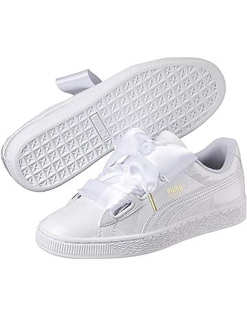 03222ff3 Puma Women's Basket Heart Patent WN's White Low-Top Sneakers