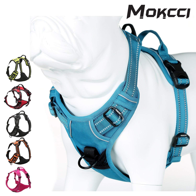MOKCCI Morbido Anteriore Cablaggio del Cane.Best Riflettente No Pull Imbracatura con Manico e Due attacchi al guinzaglio