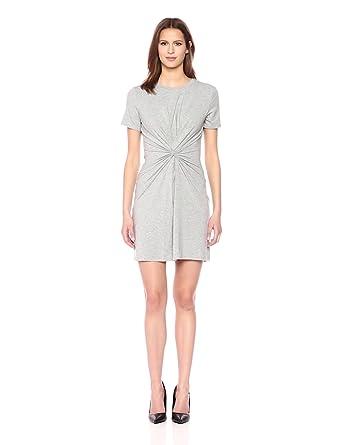 Theory Women's Short Sleeve Knot TEE Dress, Heather Grey, S