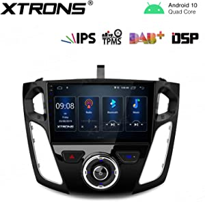 "XTRONS Android 10.0 Car Stereo Radio Player 9"" IPS Touch Screen GPS Navigation Built-in DSP Bluetooth Head Unit Supports Android Auto Full RCA Backup Camera WiFi OBD2 DVR TPMS for Ford Focus 2012-2017"