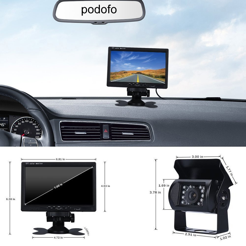 Podofo Wireless Backup Camera System 7 inch TFT Monitor Rear View Camera with Night Vision Waterproof License Plate Camera Kit for Car//RV//Truck//Van//Caravan//Trailers//Camper//Vehicle