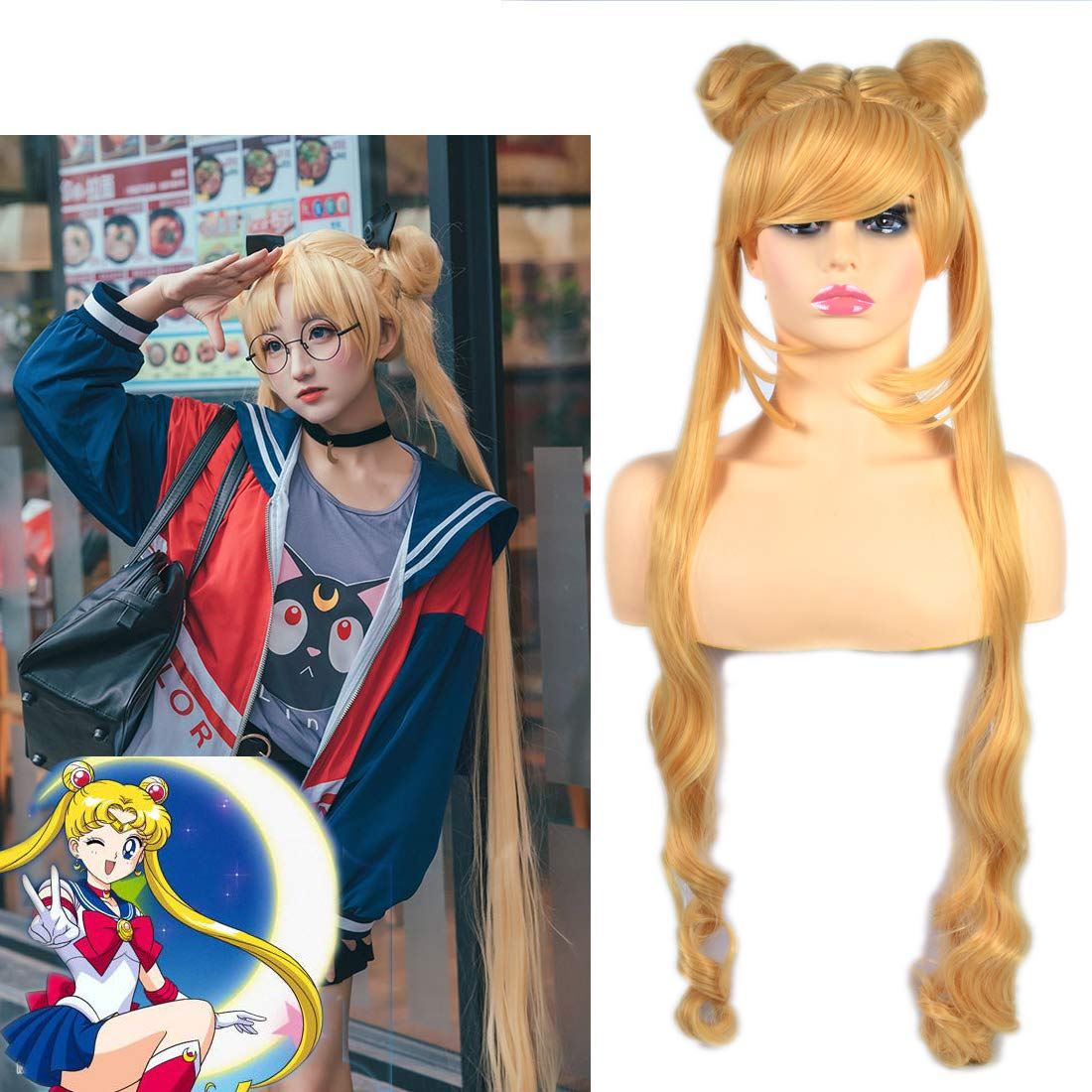Hoolaza Blonde Extra Long Curly Wig Tsukino Usagi Sailor Moon Princess Serenity For Halloween Party Cosplay Wigs Amazon De Beauty